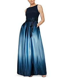 Ombré Satin Bow Sash Gown