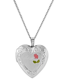 "Enamel Rose Mom Heart Locket 18"" Pendant Necklace in Sterling Silver"
