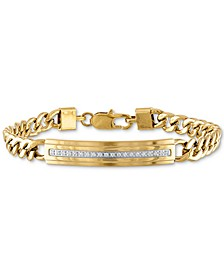 Diamond ID Plate Bracelet (1/5 ct. t.w.) in Gold-Tone Stainless Steel, Created for Macy's