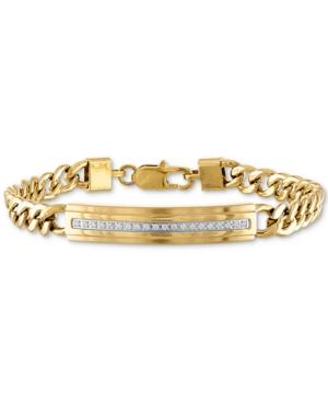 Diamond Id Plate Bracelet (1/5 ct. t.w.) in Gold-Tone Stainless Steel