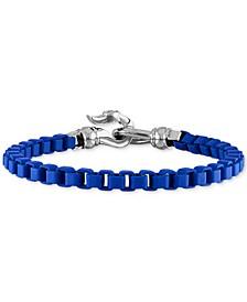 Box Link Chain Bracelet in Black Enamel & Stainless Steel (Also in Red & Blue Enamel), Created for Macy's