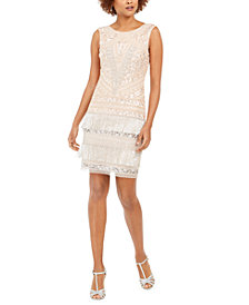 Adrianna Papell Petite Embellished Fringe Sheath Dress