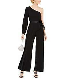 One-Shoulder Crepe Jumpsuit