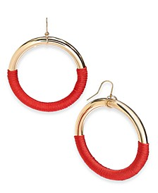 INC Gold-Tone Thread-Wrapped Drop Hoop Earrings, Created For Macy's