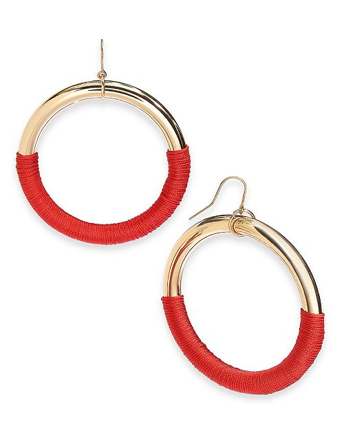 INC International Concepts INC Gold-Tone Thread-Wrapped Drop Hoop Earrings, Created For Macy's