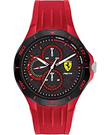 Men's Pista Red Silicone Strap Watch 44mm