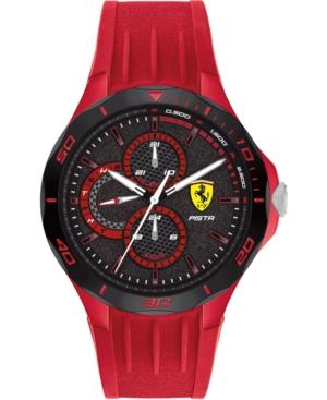 Men's Pista Red Silicone Strap Watch 44mm