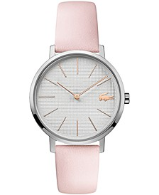 Women's Moon Pink Leather Strap Watch 35mm