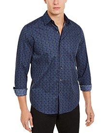 Men's Stretch Tile-Print Shirt, Created for Macy's