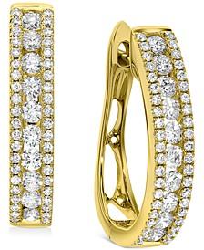 Diamond Oval Hoop Earrings (1 ct. t.w.) in 10k Gold