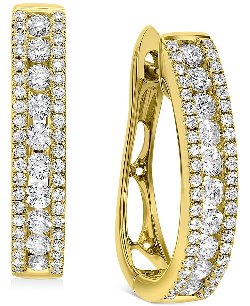 Macy's Diamond Oval Hoop Earrings (1 ct. t.w.) in 10k Gold