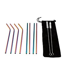 11 Piece Rainbow Metal Straw Set