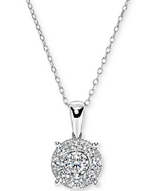 "Diamond Miracle Plate Halo Cluster 18"" Pendant Necklace (1/2 ct. t.w.) in 14k White Gold"