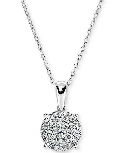"Macy's Diamond Miracle Plate Halo Cluster 18"" Pendant Necklace (1/2 ct. t.w.) in 14k White Gold"