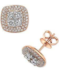 Diamond Halo Stud Earrings (1-1/2 ct. t.w.) in 14k Rose Gold & White Gold