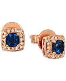 Deep Sea Blue Topaz (5/8 ct. t.w.) & Vanilla Diamond (1/10 ct. t.w.) Stud Earrings in 14k Rose Gold