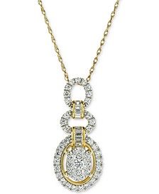 Diamond Oval Adjustable Pendant Necklace (3/4 ct. t.w.) in 14k Gold & White Gold
