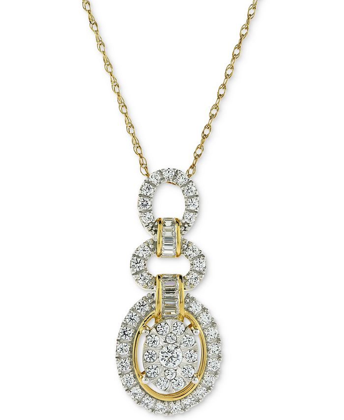 Macy's - Diamond Oval Adjustable Pendant Necklace (3/4 ct. t.w.) in 14k Gold & White Gold