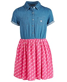 Big Girls Denim-Bodice Fit & Flare Dress