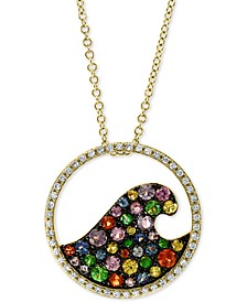 "EFFY® Multi-Gemstone (7/8 ct. t.w.) & Diamond (1/5 ct. t.w.) Wave 18"" Pendant Necklace in 14k Gold"