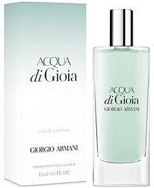 Receive a Complimentary Deluxe Mini with any large spray purchase from the Acqua di Gioia fragrance collection