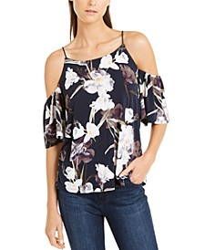 INC Printed Tie-Sleeve Cold-Shoulder Top, Created For Macy's