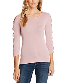 Bow-Embellished Sleeve-Cutout Top