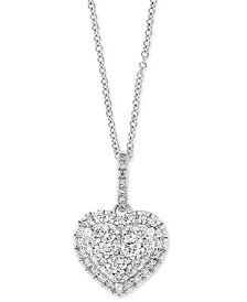 "EFFY® Diamond Heart 18"" Pendant Necklace (3/8 ct. t.w.) in 14k White Gold"