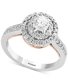 EFFY® Diamond Two-Tone Double Halo Ring (1/2 ct. t.w.) in 14k White Gold & Rose Gold