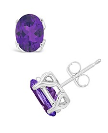Amethyst (2-1/3 ct. t.w.) Stud Earrings in Sterling Silver. Also Available in Citrine, Garnet, Sky Blue Topaz, Rose Quartz, Dark Blue Topaz and Peridot