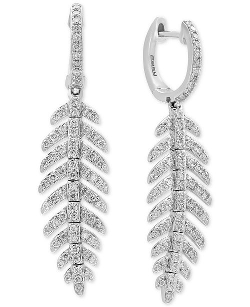 EFFY Collection EFFY® Diamond Feather Dangle Drop Earrings (7/8 ct. t.w.) in 14k White Gold