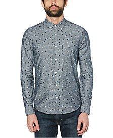 Men's Regular-Fit Stretch Floral Chambray Shirt