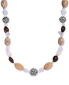 "Multi-Gemstone Statement Necklace in Sterling Silver, 19"" + 2"" extender"