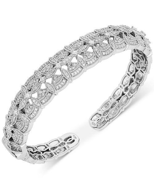 Macy's Diamond Openwork Hinged Cuff Bracelet (1-1/2 ct. t.w.) in Sterling Silver