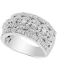 Diamond Openwork Milgrain Statement Ring (1-1/4 ct. t.w.) in Sterling Silver