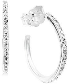 """EFFY® Diamond Small Hoop Earrings (1/6 ct. t.w.) in 14k White Gold, 0.66"""""""
