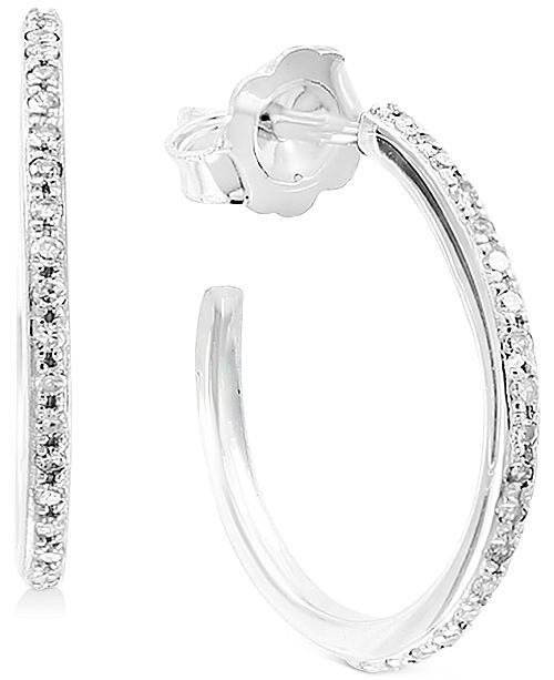 """EFFY Collection EFFY® Diamond Small Hoop Earrings (1/6 ct. t.w.) in 14k White Gold, 0.66"""""""