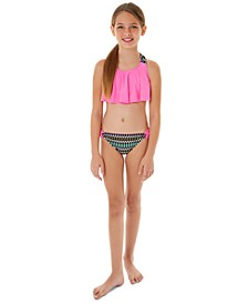 Big Girls 2-Pc. Printed Flounce Bikini Swim Suit