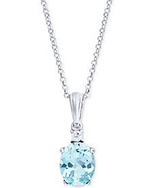 "Blue Topaz (1 ct. t.w.) & Aquamarine (1/20 ct. t.w.) 18"" Pendant Necklace in Sterling Silver"