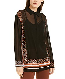 Border-Print Mesh Top, Created for Macy's