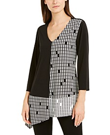 Petite Mixed-Print Asymmetrical-Hem Top, Created For Macy's