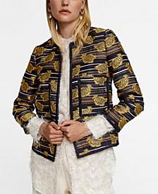 Leandra Medine Embroidered Jacquard Jacket