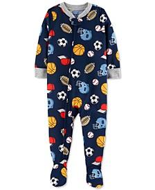 Baby Boys 1-Pc. Sports-Print Footie Pajama