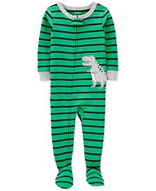 Toddler Boys 1-Pc. Cotton Striped Dinosaur Footie Pajama
