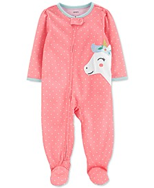 Baby Girls 1-Pc. Unicorn Footie Pajama