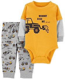 Baby Boys 2-Pc. Cotton Mommy Digs Me Bodysuit & Pants Set