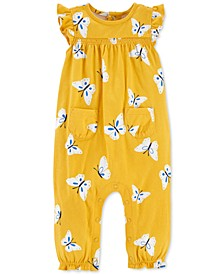 Baby Girls Cotton Butterfly-Print Coverall