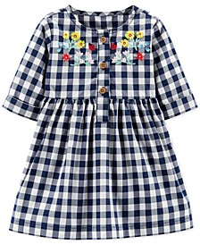 Baby Girls Cotton Embroidered Gingham Dress