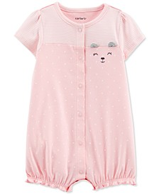 Baby Girls Dot-Print Bear Cotton Romper