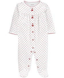 Baby Girls Cotton Dot-Print Heart Coverall